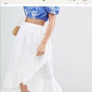 White wrap ruffle skirt ASOS